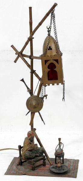 051003: NAM GREB BRONZE FIGURAL LAMP, C.1900