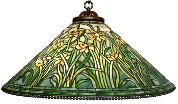 052001: TIFFANY STUDIOS LEADED GLASS SHADE, 'DAFFODIL'