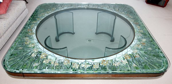 "052002: LEADED GLASS ""DAFFODIL"" COFFEE TABLE, H 17.8"""