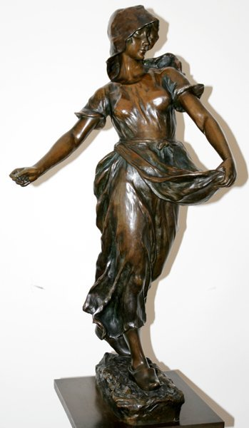 052003: H. SHORY BRONZE SCULPTURE OF A PEASANT WOMAN