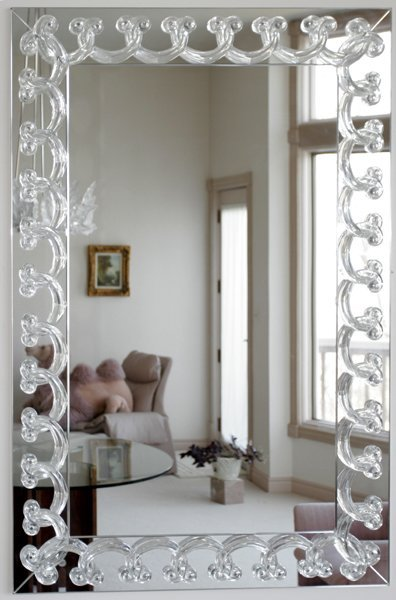 "052017: LALIQUE CRYSTAL MIRROR, 51""x34.5"""