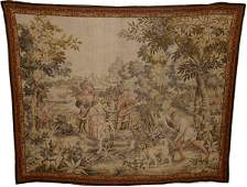 052250: KINGS HUNTING PARTY FRENCH WOOL TAPESTRY