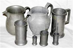 052560 DUTCH PEWTER WATER PITCHERS  MEASURING VESSEL