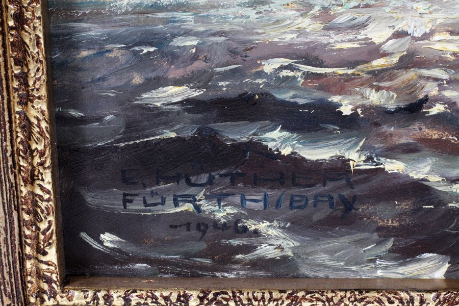 E. HUTHER FURTH BAY OIL ON CANVAS 1946 - 2