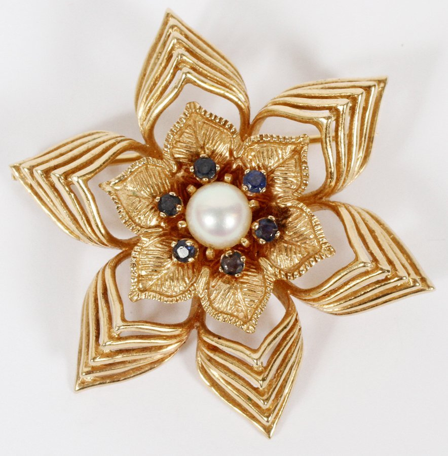 PEARL & 14KT GOLD VINTAGE PIN
