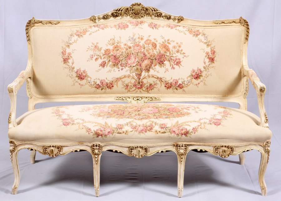 FRENCH LOUIS XV STYLE SETTEE & SIDE CHAIRS 3 PCS.