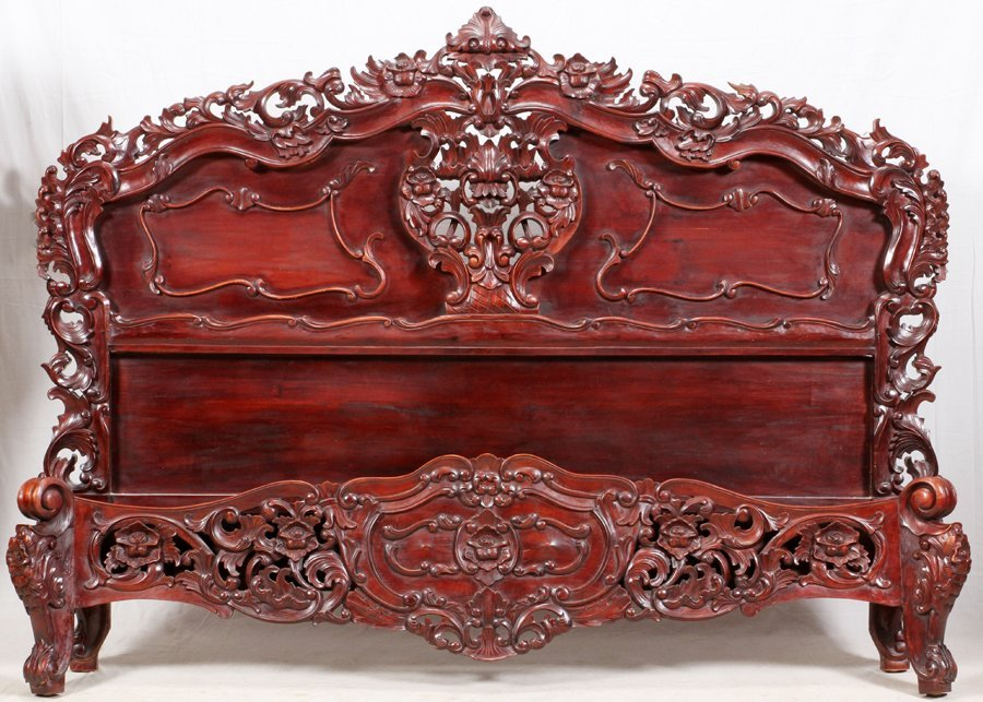 CARVED MAHOGANY KING SIZE BED FRAME