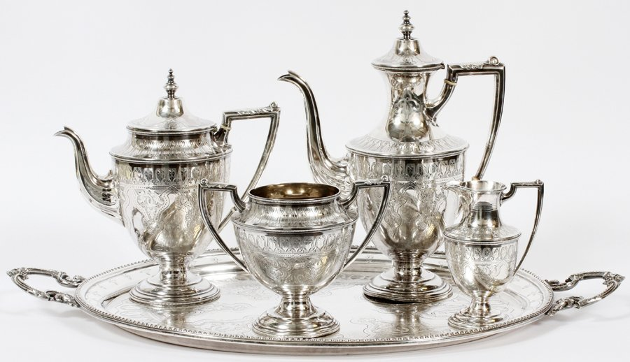 SHEFFIELD ENGRAVED STERLING SILVER TEA SET 1870