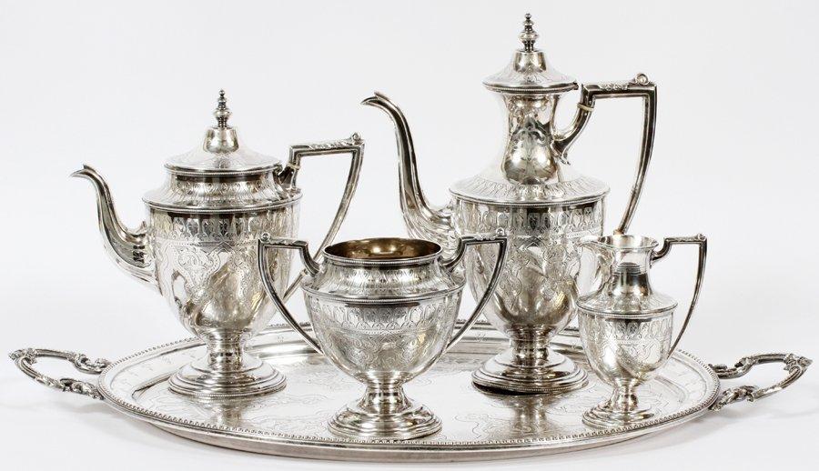 SHEFFIELD ENGRAVED STERLING SILVER TEA SET 1870