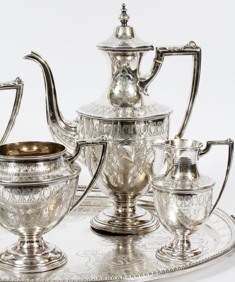 SHEFFIELD ENGRAVED STERLING SILVER TEA SET 1870 - 2