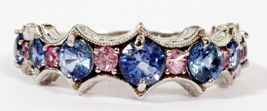 2.5CT BLUE & PINK SAPPHIRE & 14KT WHITE GOLD RING