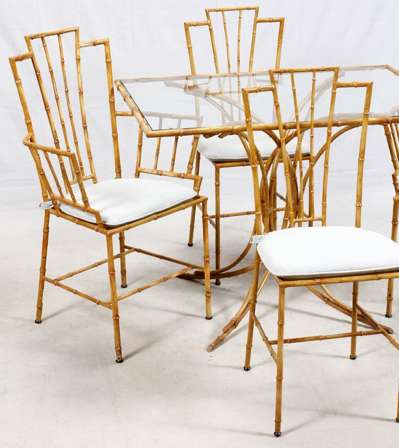 BAMBOO STYLE METAL AND GLASS TABLE AND CHAIRS - 2