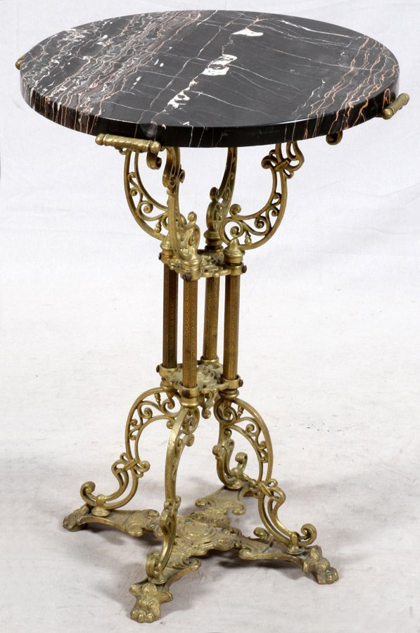 ROUND MARBLE TOP AND BRASS PEDESTAL TABLE