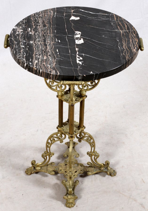 ROUND MARBLE TOP AND BRASS PEDESTAL TABLE - 2