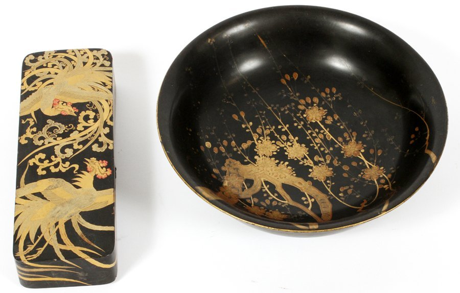 JAPANESE LACQUER BOX AND BOWL 2 PIECES