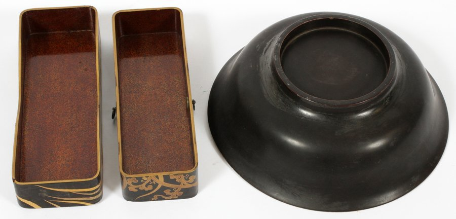 JAPANESE LACQUER BOX AND BOWL 2 PIECES - 2