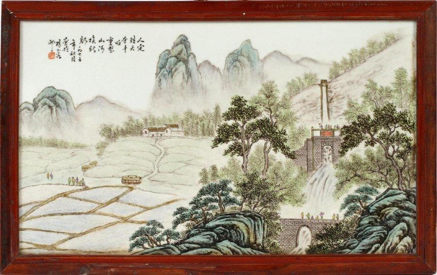 CHINESE MOUNTAIN SCENE PORCELAIN PLAQUE