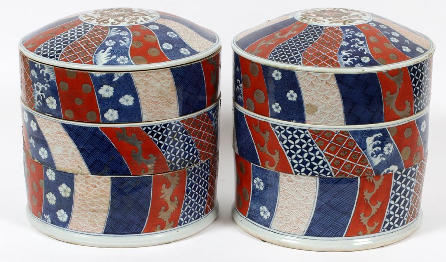 TIERED CHINESE PORCELAIN CONTAINERS PAIR