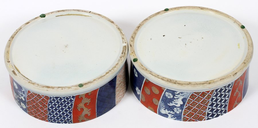 TIERED CHINESE PORCELAIN CONTAINERS PAIR - 2