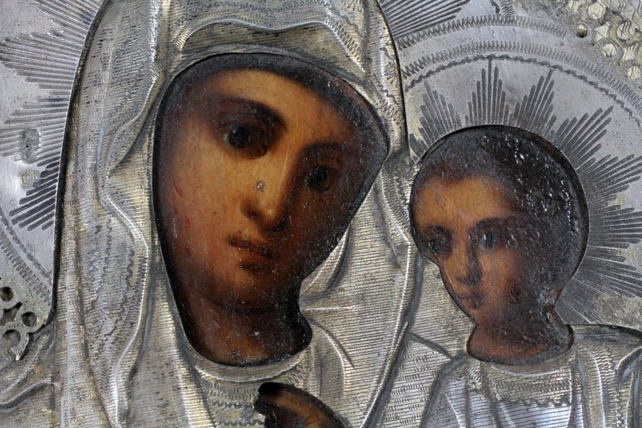RUSSIAN ICON MARY AND CHRIST CHILD - 4