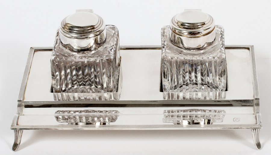 SHEAFFER PEN CO. STERLING SILVER &CRYSTAL INK STAND