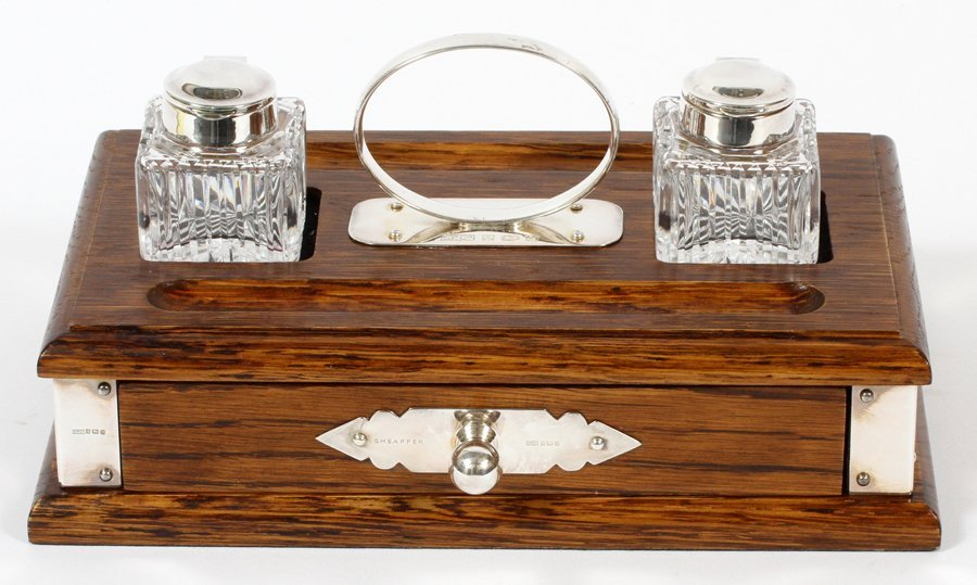 SHEAFFER PEN CO. OAK AND STERLING SILVER INK STAND