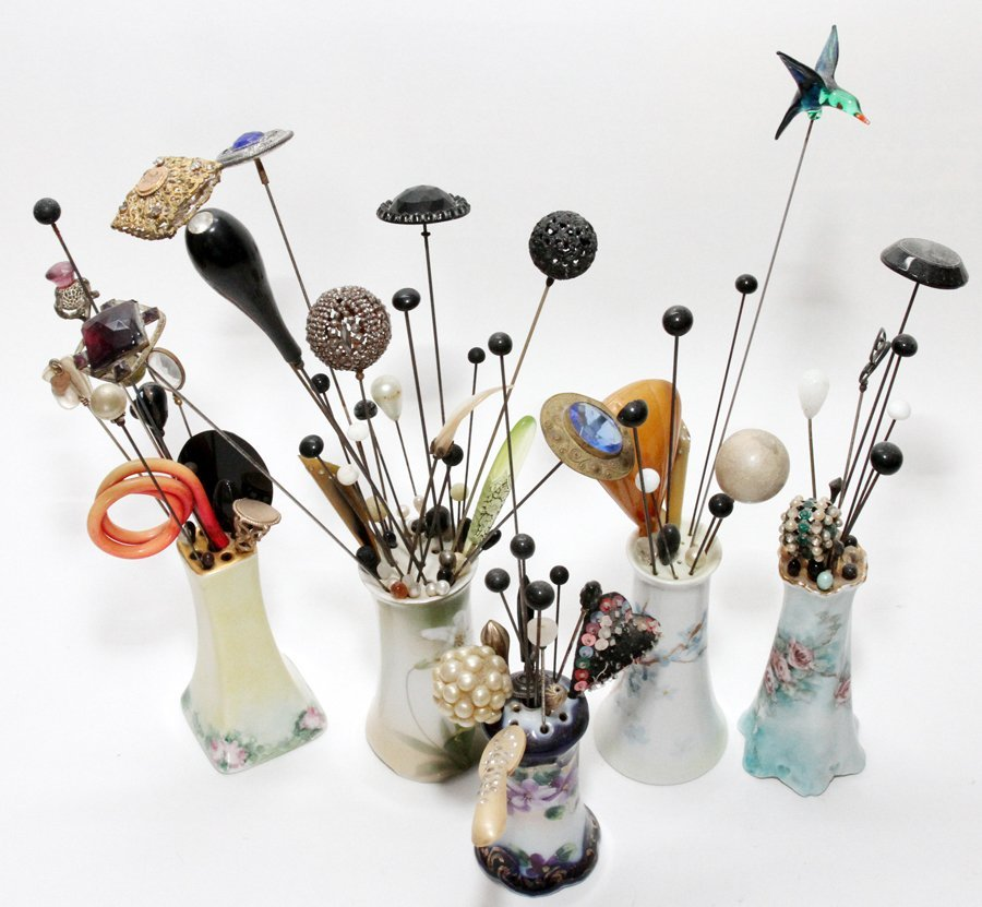 HAT PIN COLLECTION IN PORCELAIN CONTAINERS - 2