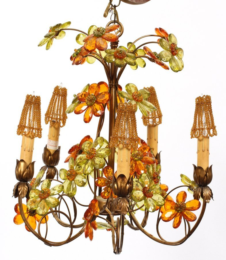 FIVE LIGHT FLORAL FORM CHANDELIER MID 20TH CENTURY