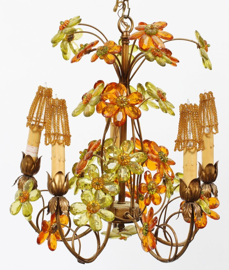 FIVE LIGHT FLORAL FORM CHANDELIER MID 20TH CENTURY - 2