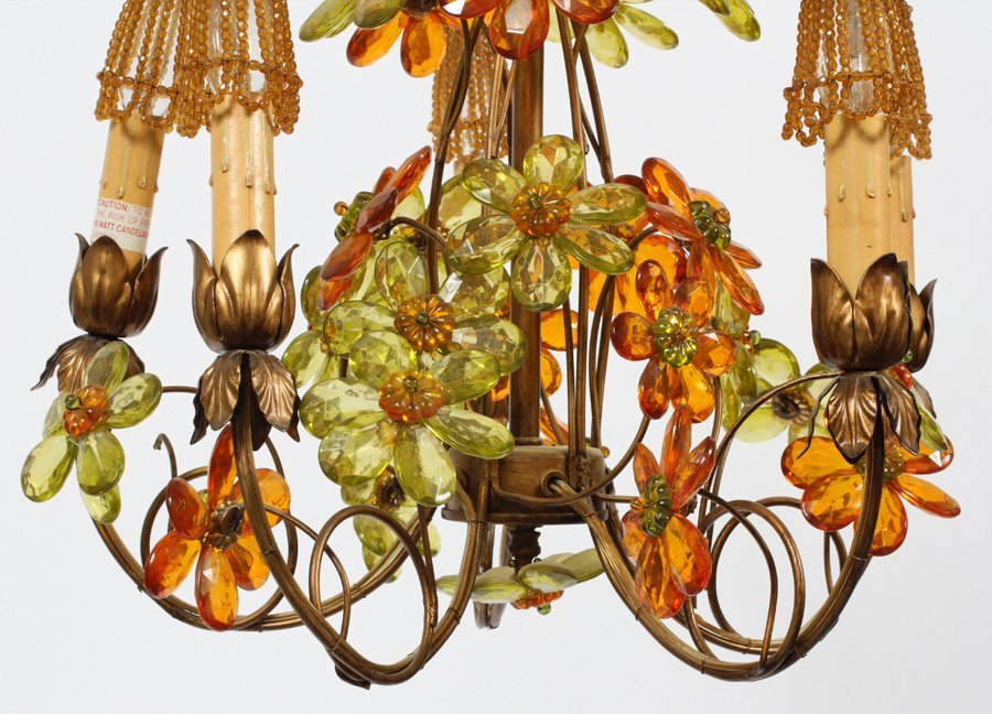 FIVE LIGHT FLORAL FORM CHANDELIER MID 20TH CENTURY - 3