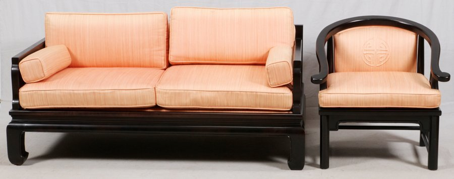 CHINESE TEAKWOOD SOFA AND ARMCHAIR