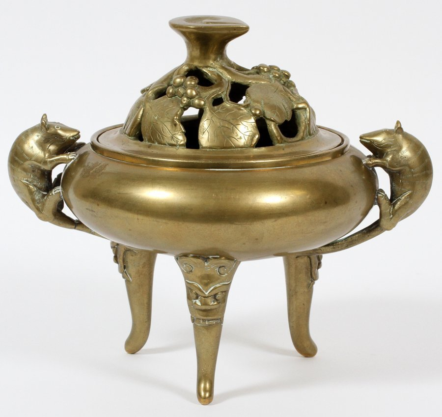 CHINESE GILT BRONZE INCENSE BURNER C1920