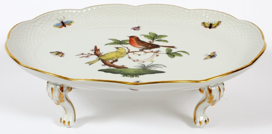 HEREND PORCELAIN FOOTED TRAY