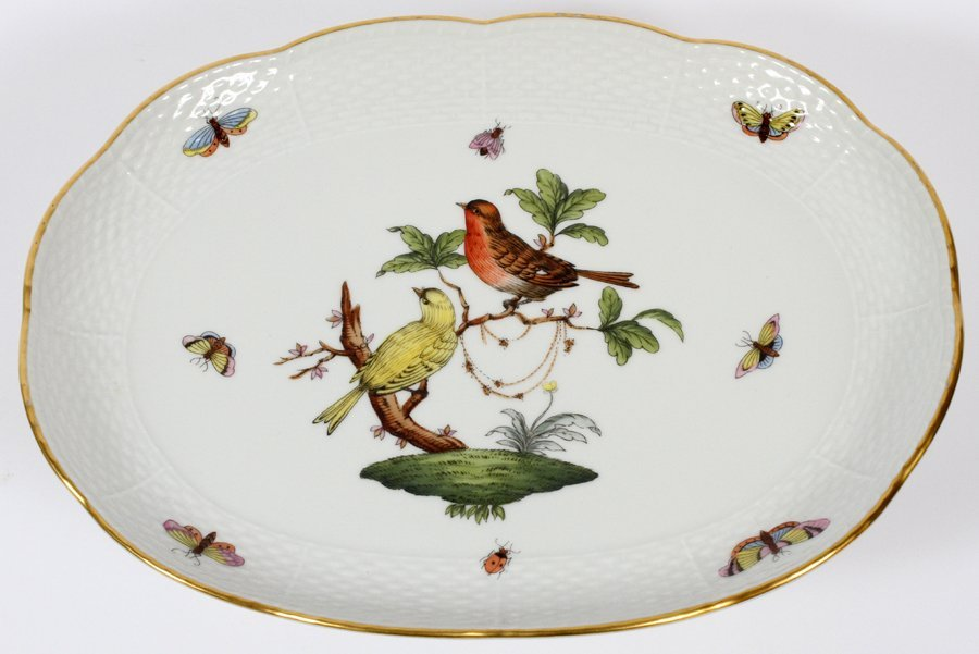 HEREND PORCELAIN FOOTED TRAY - 2