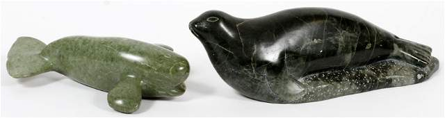 INUIT HAND CARVED STONE WHALE AND FUR SEAL SIGNED