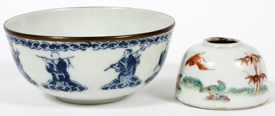 ASIAN PORCELAIN BOWL AND INK WELL