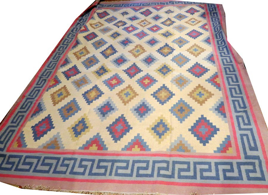 INDIAN DHURRIE HAND WOVEN WOOL CARPET