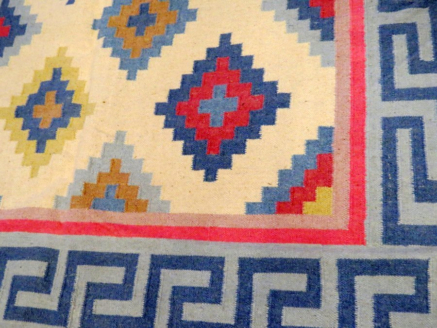INDIAN DHURRIE HAND WOVEN WOOL CARPET - 2