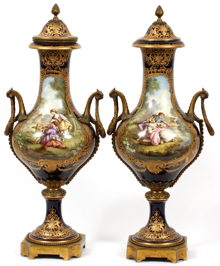 SEVRES FRENCH PORCELAIN VASES 19TH.C. PAIR