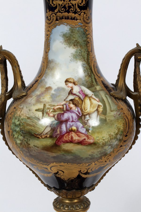 SEVRES FRENCH PORCELAIN VASES 19TH.C. PAIR - 2