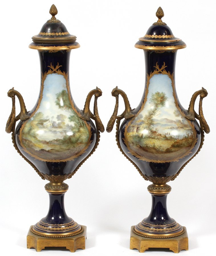 SEVRES FRENCH PORCELAIN VASES 19TH.C. PAIR - 4