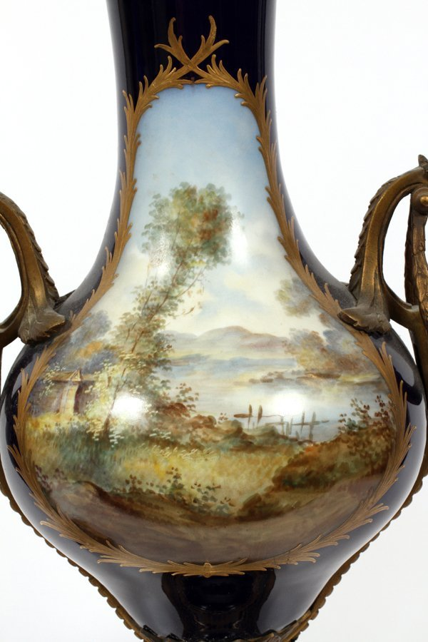 SEVRES FRENCH PORCELAIN VASES 19TH.C. PAIR - 5