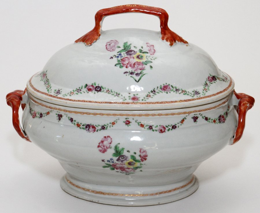 CHINESE EXPORT PORCELAIN COVERED TUREEN & PLATTER - 5