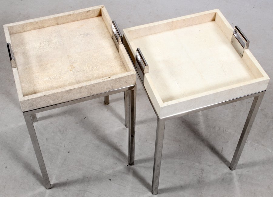 KNOLL STYLE SHAGREEN AND CHROME END TABLES PAIR - 2