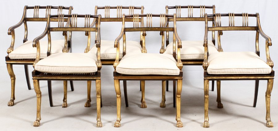 EMPIRE-STYLE GOLD AND BLACK LACQUERED DINING CHAIRS