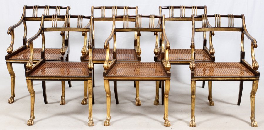 EMPIRE-STYLE GOLD AND BLACK LACQUERED DINING CHAIRS - 2