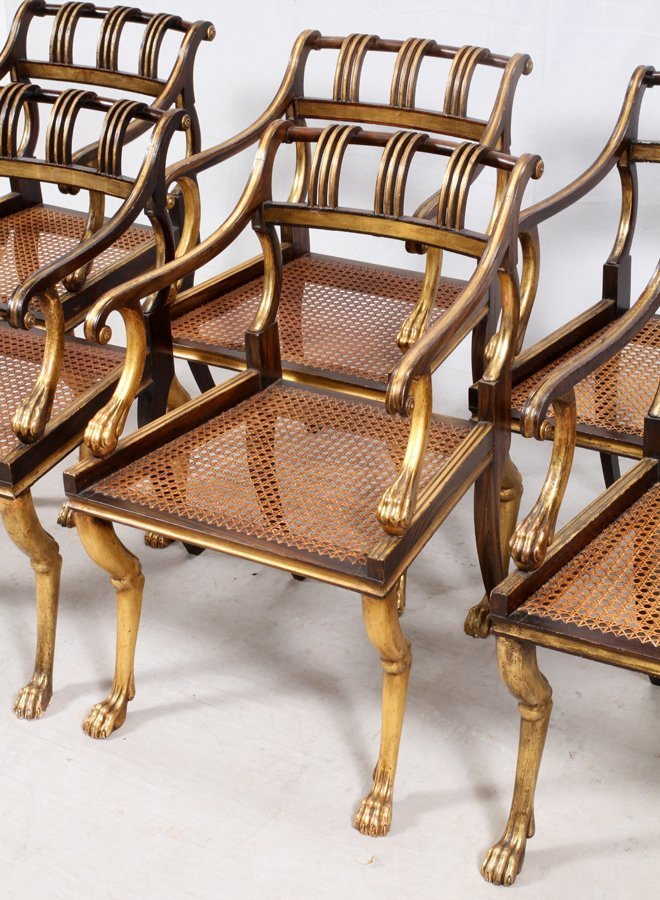 EMPIRE-STYLE GOLD AND BLACK LACQUERED DINING CHAIRS - 3