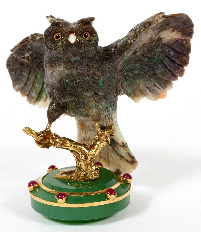 ERWIN KLEIN IDAR-OBERSTEIN GERMANY CARVED OPAL OWL