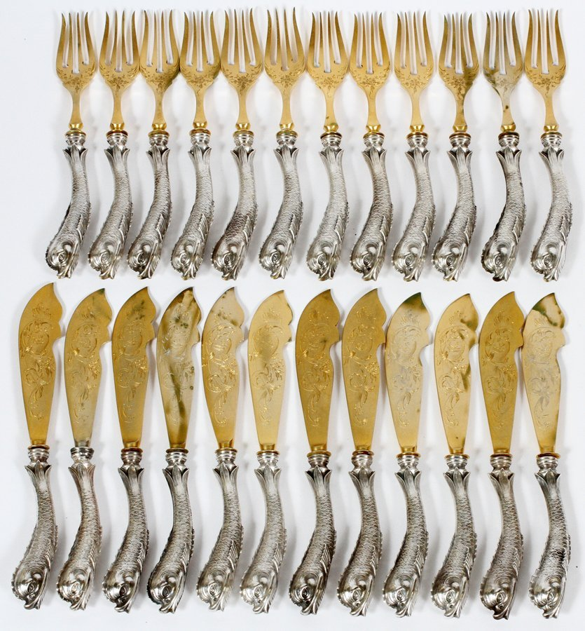 DOLPHIN HANDLE 800 SILVER FISH KNIVES & FORKS