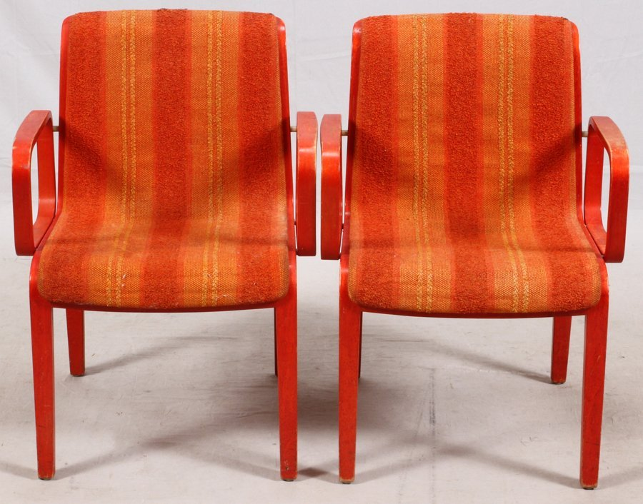 WILLIAM STEPHENS FOR KNOLL BENTWOOD ARMCHAIRS PAIR